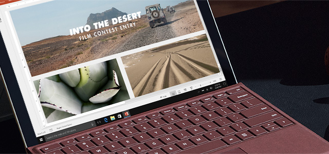Close-up view of Surface Pro lock screen.